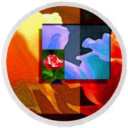 Backlit Roses Round Beach Towel