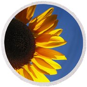 Backlit Sunflower Round Beach Towel
