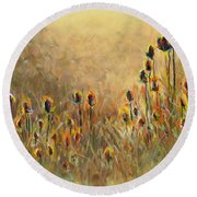Backlit Thistle Round Beach Towel