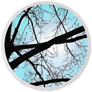 Backlit Tree Round Beach Towel