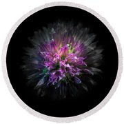 Backyard Flowers 53 Color Version Round Beach Towel