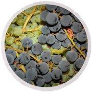 Backyard Garden Series - Grapes And Vines Round Beach Towel