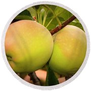 Backyard Garden Series - Two Apples Round Beach Towel