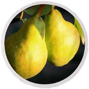 Backyard Garden Series - Two Pears Round Beach Towel