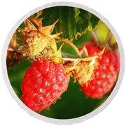 Backyard Garden Series - Two Ripe Raspberries Round Beach Towel