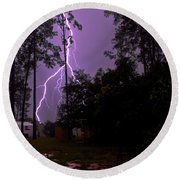 Backyard Lightning Round Beach Towel