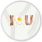 Bacon And Egg I Love You Round Beach Towel