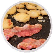Bacon And Potatoes On A Griddle Round Beach Towel