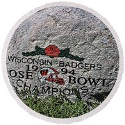 Badgers Rose Bowl Win 1994 Round Beach Towel