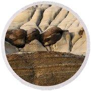 Badlands Drumheller Alberta Canada 4 Round Beach Towel