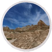 Badlands View From A Trail Round Beach Towel