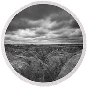 Badlands White River Valley Bw Round Beach Towel