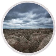 Badlands White River Valley  Round Beach Towel