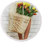 Bag With A Bouquet Of Tulips Round Beach Towel