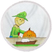 Baggs And Boo Canned Pumpkin Round Beach Towel