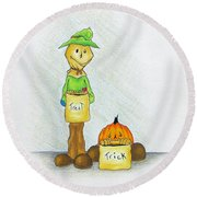 Baggs And Boo Treat Or Trick Round Beach Towel