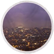 Baguio At Night Round Beach Towel