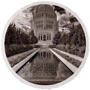 Bahai Temple Reflecting Pool Round Beach Towel