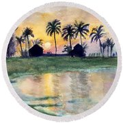 Bahama Palm Trees Round Beach Towel