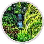 Bahamas - Tropical Waterfall Round Beach Towel