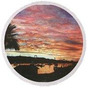Bahia Inglesa Landscape  Round Beach Towel