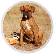 Bailey The Boxer Puppy Round Beach Towel