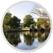 Bakewell Bridge And The River Wye Round Beach Towel