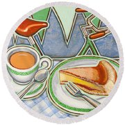 Bakewell Pudding And Cup Of Tea At Eroica Britannia  Round Beach Towel