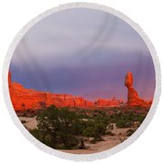 Balance Rock At Sunset, Arches National Park, Utah Usa Round Beach Towel