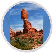 Balanced Rock In Arches National Park, Moab, Utah Round Beach Towel
