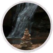 Balanced Stones Waterfall Round Beach Towel