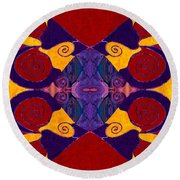 Balancing Affections Abstract Bliss Art By Omashte Round Beach Towel