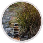 Balancing Zen Stones In Countryside River V Round Beach Towel