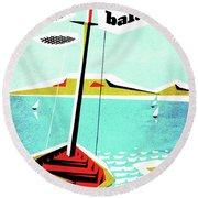 Balaton Lake, Hungary, Fishing Boat On The Coast Round Beach Towel