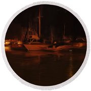 Balboa Island Newport Bay Night Round Beach Towel