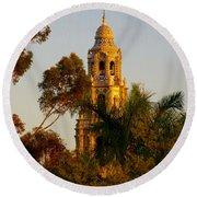 Balboa Park Bell Tower Orig. Round Beach Towel