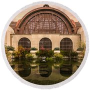 Balboa Park Botanical Building Symmetry Round Beach Towel