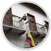 Balconies And Flags Round Beach Towel