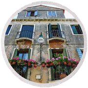 Balcony With Flowers In Venice, Italy Round Beach Towel