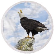 Bald Eagle Art - Speak Your Voice Round Beach Towel