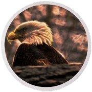 Bald Eagle Electrified Round Beach Towel