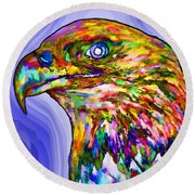 Bald Eagle Face Round Beach Towel