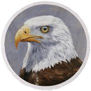 Bald Eagle Portrait Round Beach Towel by Crista Forest
