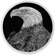 Bald Eagle Scratchboard Round Beach Towel