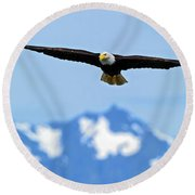 Bald Eagle Soars Over Hood Canal Round Beach Towel