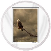 Bald Eagle Storm Round Beach Towel
