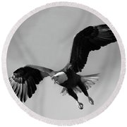 Bald Eagle Symbol Of Strength Round Beach Towel