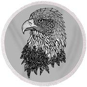 Bald Eagle Zentangle Round Beach Towel