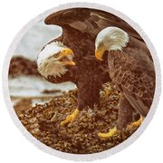 Bald Eagles Family Discussion Round Beach Towel