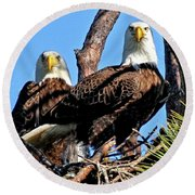 Bald Eagles In Nest Round Beach Towel